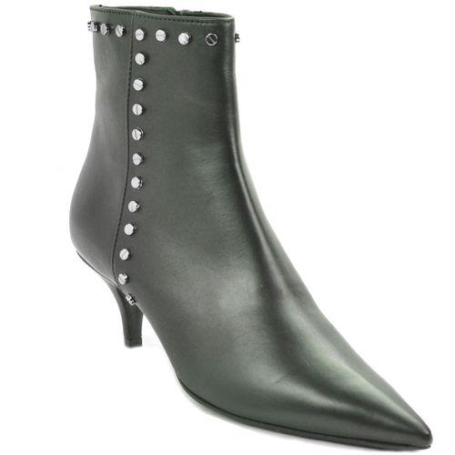 Berenice Leather Kitten Heel Bootie