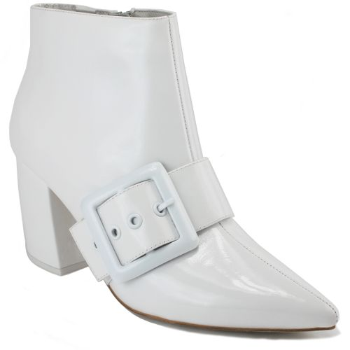 Final White Buckle Bootie