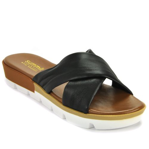 Floreta Leather Criss Cross Wedge Slide