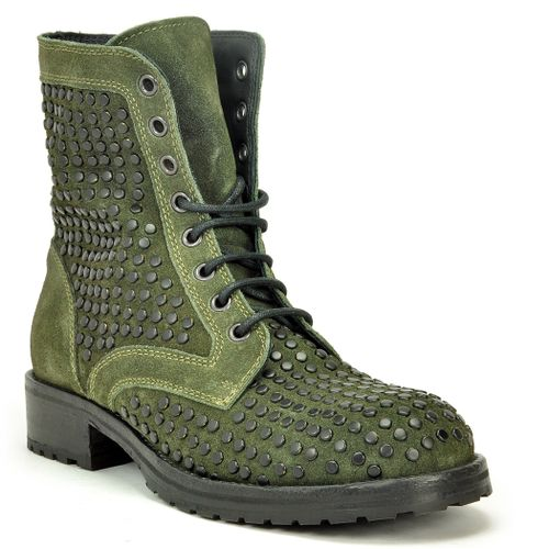 1515 Studded Suede Lug Sole Ankle Boot