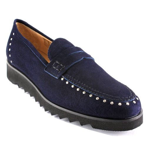 825 Studded Suede Flat Loafer