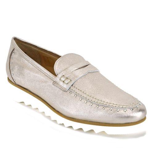 825 Metallic Leather Flat Loafer