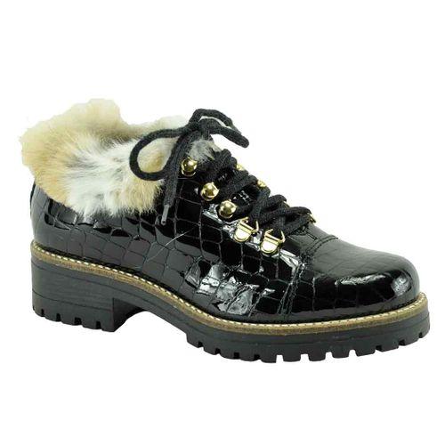Ekka Croc Leather Fur Lug Bootie