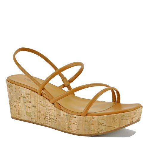 Faith Leather Cork Wedge Sandal