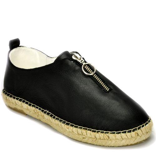 Mar201 Leather Zipper Espadrille