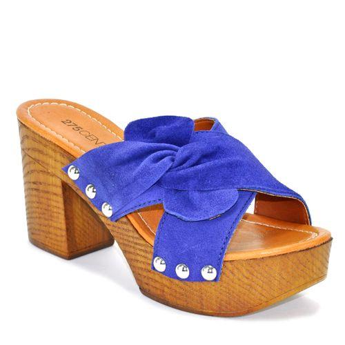 Sabrina Suede Wood Heel Slide