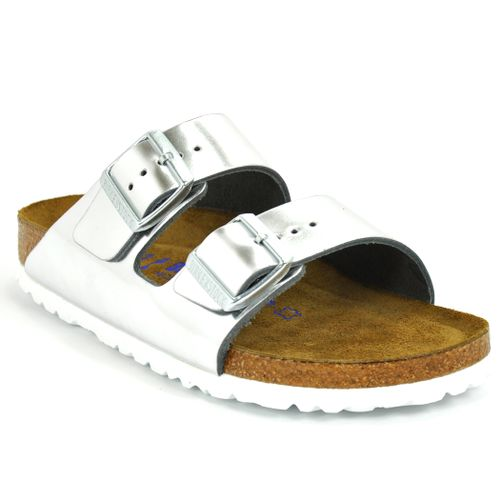 Arizona 552963 Silver Metallic Leather  Flat Slide
