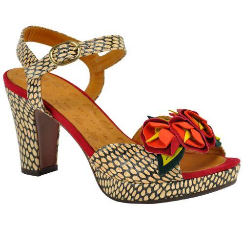 Ekune Floral Leather Sandal