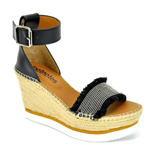 Coin Leather Wedge Espadrille