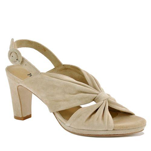Karol Suede Pleated Heel Sandal