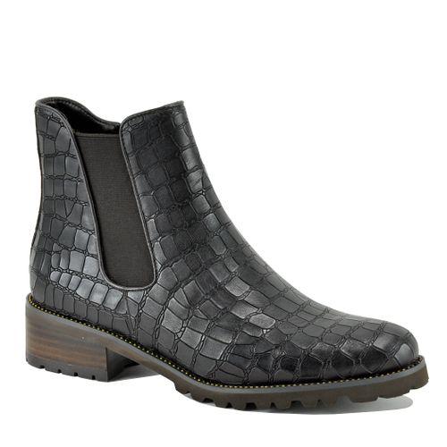 Links Croc Leather Flat Bootie
