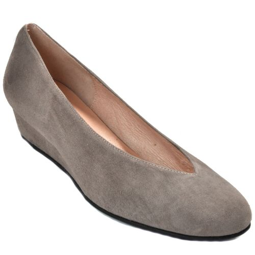 Cubic Suede Closed Wedge Flat
