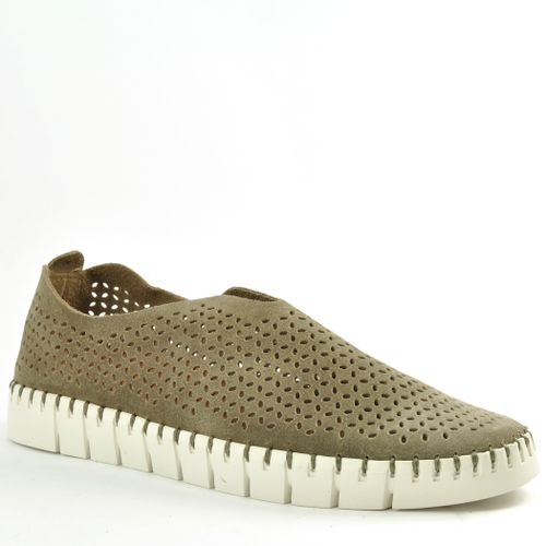 Tiles Perforated Suede Slip-On Sneaker