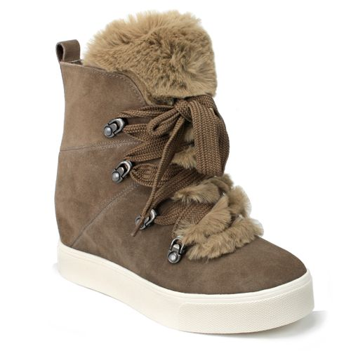 Whitney High Top Suede Fur Sneaker