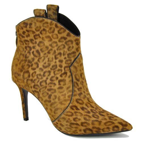 414T95 Leopard Heel Bootie