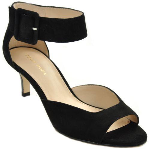 Berlin Sandal Suede Anklewrap Kitten Heel