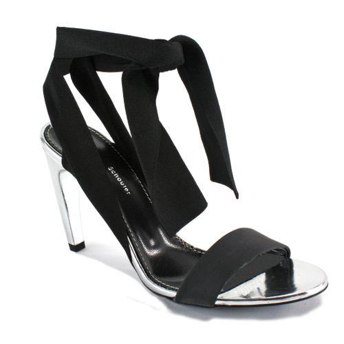 PS32036A Fabric Metal Heel Sandal