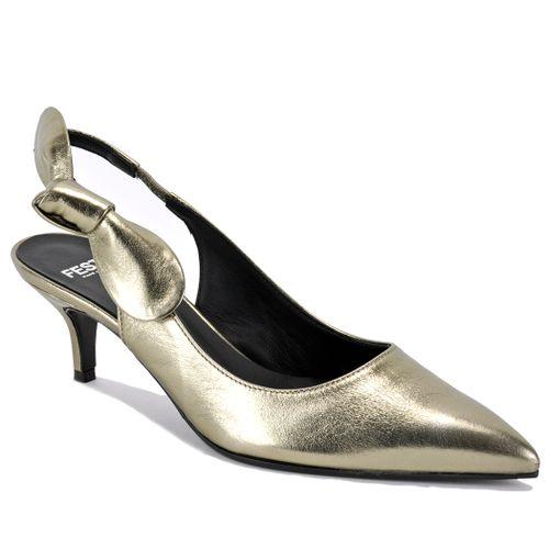 Dea Metallic Metallic Leather Kitten Heel