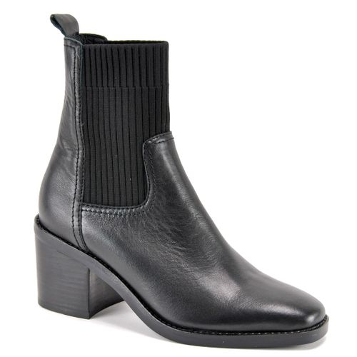 Nirvani Leather Black Heel Boot