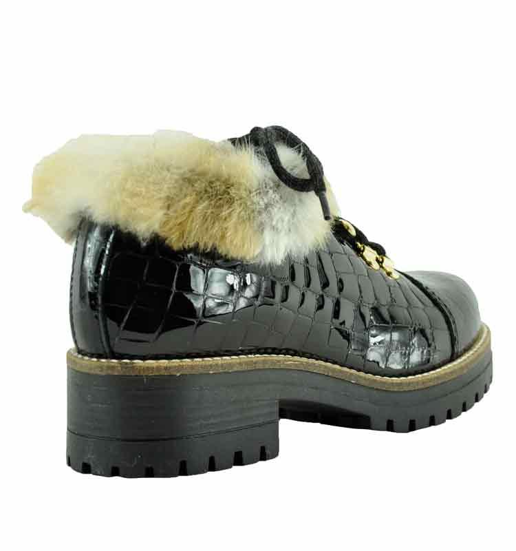 Ekka-Croc-Leather-Fur-Lug-Bootie-36-Black-2