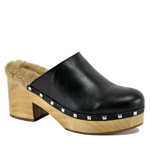 Brooklyn Leather Fur Clog