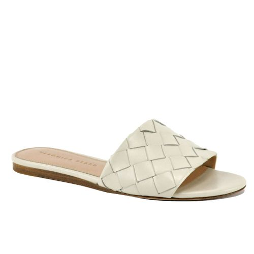Senta Leather Woven Flat Slide