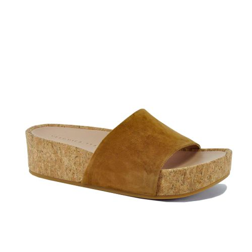 Dresdyn Suede Cork Wedge Slide