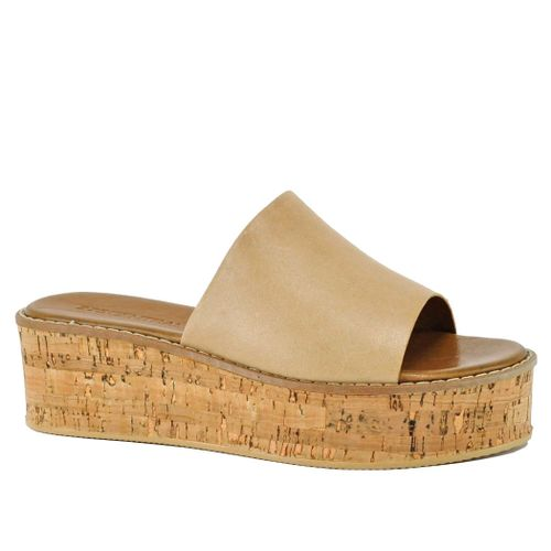 Iman Leather Cork Wedge Slide
