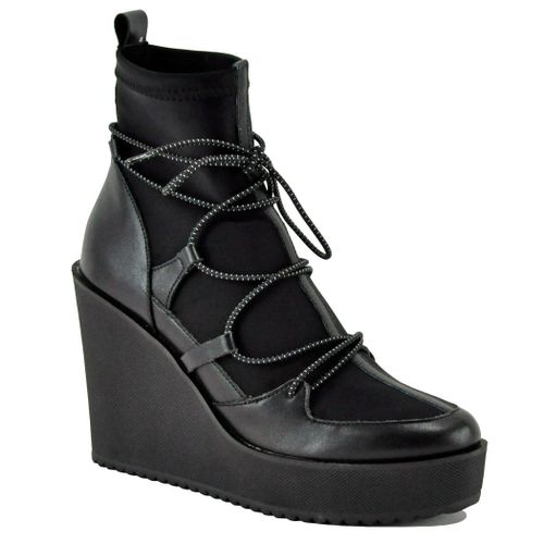Atomic Leather High Wedge Bootie