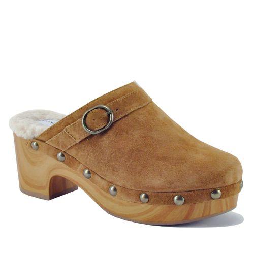 Carlie Suede Wood Fur Clog